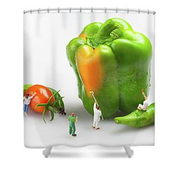 Shower Curtain featuring the painting Vegetable Painting Little People On Food by Paul Ge