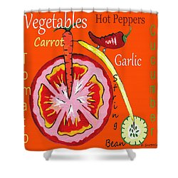 Vegetables - Typography Shower Curtain