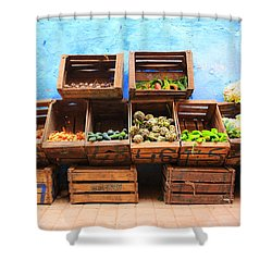 Shower Curtain featuring the photograph Veggies And The Blue Wall by Ramona Johnston