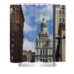 Veiw Of City Hall Shower Curtain by Judy Wolinsky