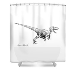 Velociraptor - Dinosaur Black And White Ink Drawing Shower Curtain
