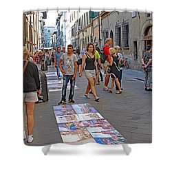 Vendors Selling Reproductions On The Street Shower Curtain by Allan Levin