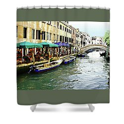 Venetian Cafes Shower Curtain by Ellen Henneke