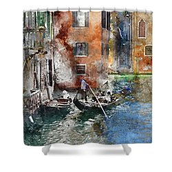 Venetian Gondolier In Venice Italy Shower Curtain