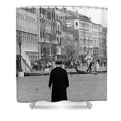 Venetian Priest And Gondola Shower Curtain by KG Thienemann
