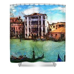 Venezia Con Gli Occhi Di Sergio Shower Curtain by Sir Josef - Social Critic -  Maha Art