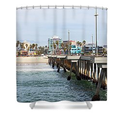 Venice Beach From The Pier Shower Curtain by Ana V Ramirez