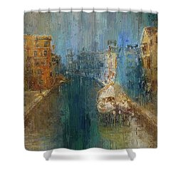 Venice Blue And Yellow Shower Curtain