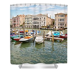 Shower Curtain featuring the photograph Venice Boats by Sharon Jones