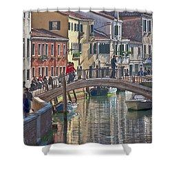 Venice Bridge Crossing 6 Shower Curtain by Heiko Koehrer-Wagner