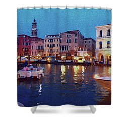 Shower Curtain featuring the photograph Venice By Night by Anne Kotan