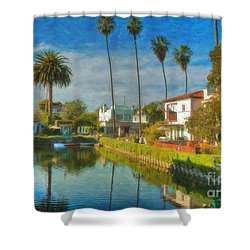 Shower Curtain featuring the photograph Venice Canal Houses Watercolor  by David Zanzinger