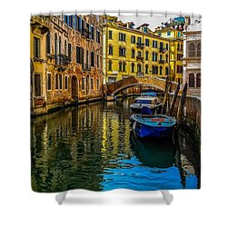 Venice Canal In Italy Shower Curtain by Marilyn Burton