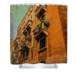 Venice Canal Windows Textured Shower Curtain by Kathleen Scanlan