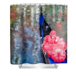 Venice Carnival. Masked Woman In A Gondola Shower Curtain