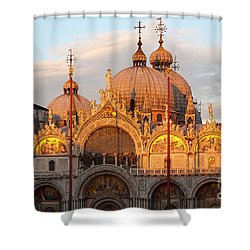Venice Church Of St. Marks At Sunset Shower Curtain by Heiko Koehrer-Wagner