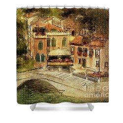Shower Curtain featuring the digital art Venice City Of Bridges by Lois Bryan