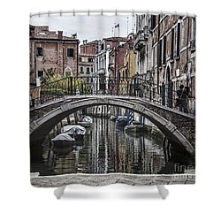 Shower Curtain featuring the photograph Venice Crossing by Shirley Mangini