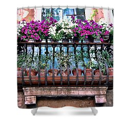 Shower Curtain featuring the photograph Venice Flower Balcony by Allen Beatty