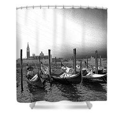Venice Gondolas Black And White Shower Curtain by Rebecca Margraf