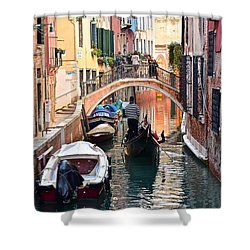 Venice Gondolier Shower Curtain by Frozen in Time Fine Art Photography