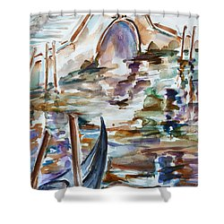 Shower Curtain featuring the painting Venice Impression I by Xueling Zou