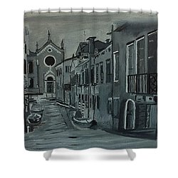 Venice In Grey And White Shower Curtain by Rod Jellison