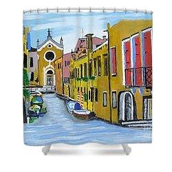 Venice In September Shower Curtain by Rod Jellison