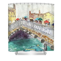 Venice In The Rain Shower Curtain