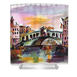 Venice Italy Silence Rialto Bridge Shower Curtain by Ginette Callaway