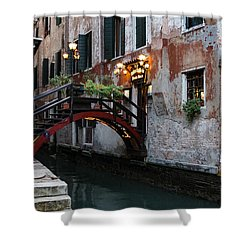Venice Italy - The Cheerful Christmassy Restaurant Entrance Bridge Shower Curtain