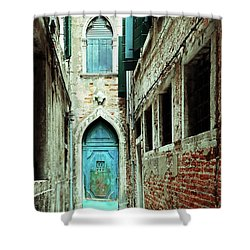 Venice Italy Turquoise Blue Door  Shower Curtain