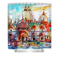 Venice Piazza Saint Marco Basilica Shower Curtain by Ginette Callaway