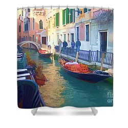 Shower Curtain featuring the photograph Venice Sidewalk Cafe by Roberta Byram