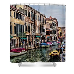 Shower Curtain featuring the photograph Venice Street Scenes by Shirley Mangini