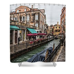 Shower Curtain featuring the photograph Venice 'streets' by Shirley Mangini