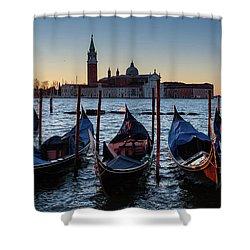 Venice Sunrise With Gondolas Shower Curtain by Evgeni Dinev