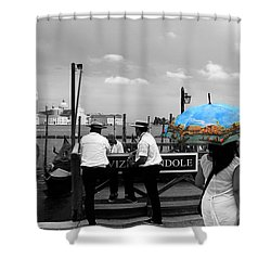 Shower Curtain featuring the photograph Venice Umbrella by Andrew Fare