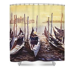 Shower Curtain featuring the painting Venice Watercolor- Italy by Ryan Fox