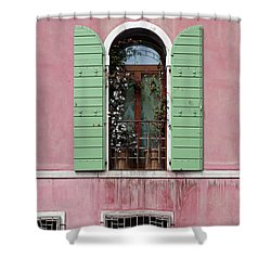 Venice Window In Pink And Green Shower Curtain