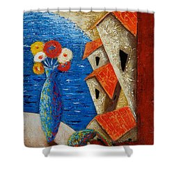 Shower Curtain featuring the painting Ventana Al Mar by Oscar Ortiz