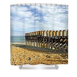 Ventnor Beach Groyne Shower Curtain by Rod Johnson