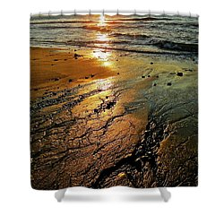 Ventura Beach Winter Sunset Shower Curtain