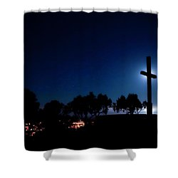 Ventura Ca Cross At Moonset Shower Curtain