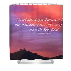Shower Curtain featuring the photograph Ventura Ca Two Trees At Sunset With Bible Verse by John A Rodriguez