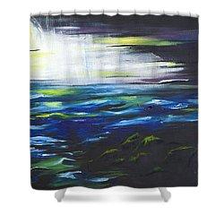 Ventura Seascape At Night Shower Curtain by Sheridan Furrer