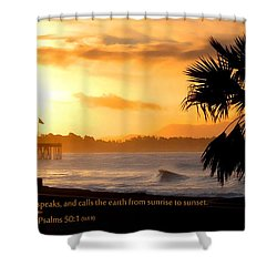 Shower Curtain featuring the photograph Ventura California Sunrise With Bible Verse by John A Rodriguez