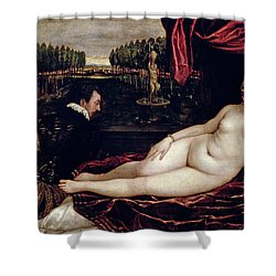 Venus And The Organist Shower Curtain by Titian