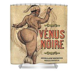 Shower Curtain featuring the digital art Venus Noire by ReInVintaged