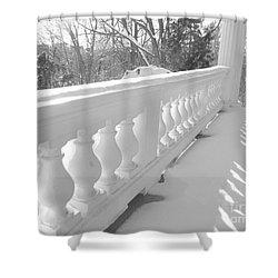 Shower Curtain featuring the photograph Verandah At Cedar Ridge by Susan  Dimitrakopoulos